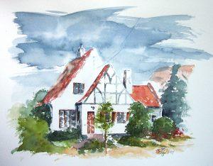 akvarel hus
